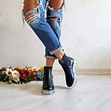 Женские зимние черные кожаные ботинки Chelsea Ice, фото 5