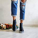 Женские зимние черные кожаные ботинки Chelsea Ice, фото 7