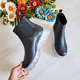 Женские зимние черные кожаные ботинки Chelsea Ice, фото 6