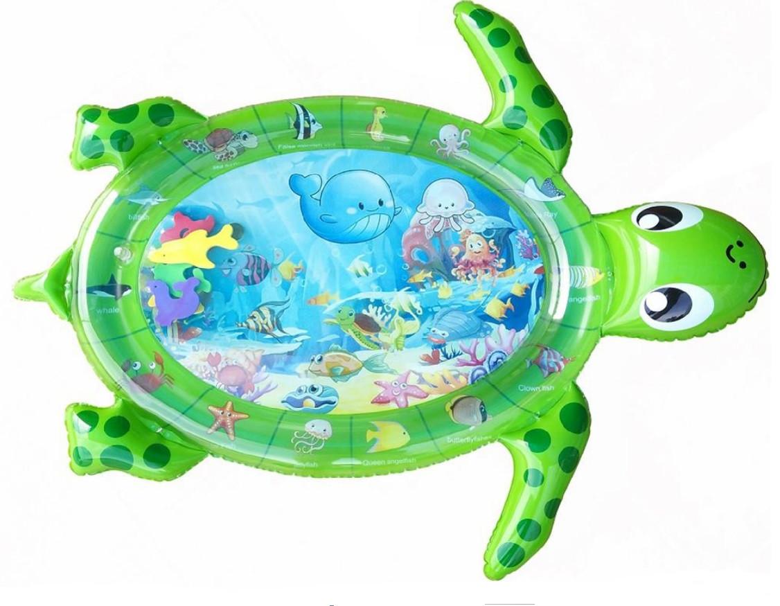 Водяной коврик с рыбками Qmol  Черепаха Зёлёный 102х84 см