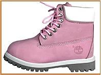 Зимние женские ботинки Timberland Pink White Grey (Тимберленд, розовые) внутри мех