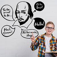Интерьерная виниловая наклейка на обои Шекспир (известные люди, английский текст, мотиватор фразы наклейки)