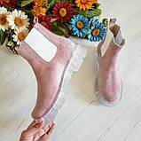 Женские зимние замшевые ботинки Chelsea Ice (пудра), фото 7