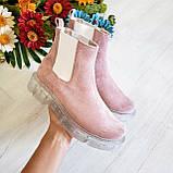 Женские зимние замшевые ботинки Chelsea Ice (пудра), фото 2