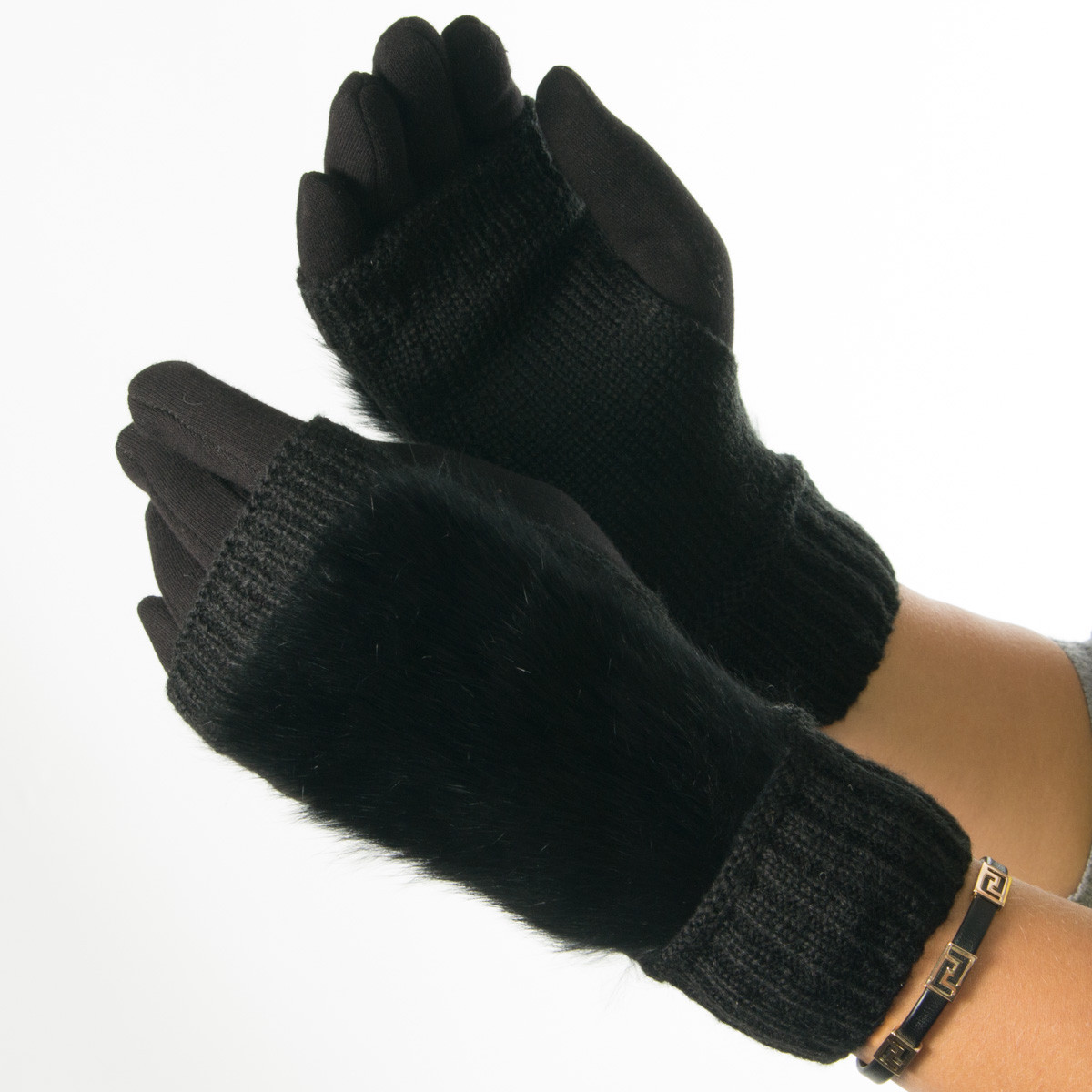 Текстильные женские перчатки-митенки с вязкой (натуральный мех) № F10-1 черный S