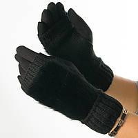 Текстильные женские перчатки-митенки с вязкой (натуральный мех) № F10-1 черный S, фото 1