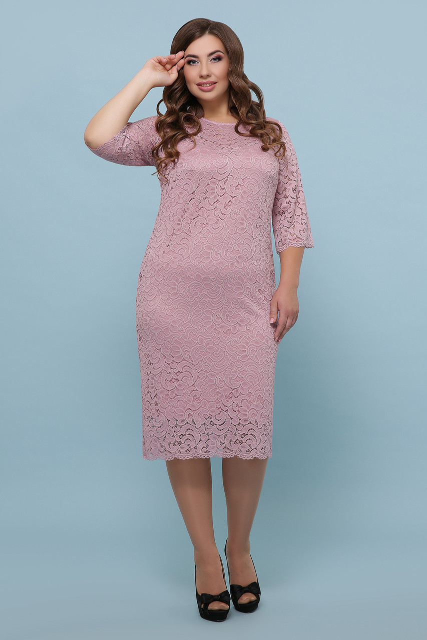 Розовое гипюровое платье Большие размеры XL, XXL, XXXL
