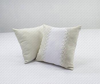 Подушка квадрат імітація льону 35*35см зі вставкою та декоративною тасьмою