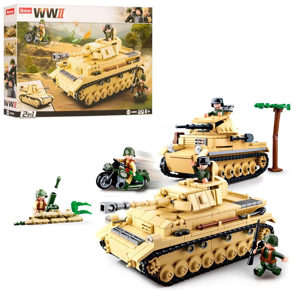 Конструктор блочный Sluban M38-B0693 Военный танк 543 дет.