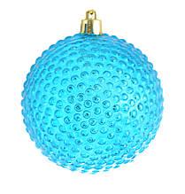 """Куля новорічна ялинкова пластиковий """"Їжачок"""" блакитний d-8 см"""