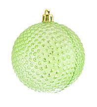 """Куля новорічна ялинкова пластиковий """"Їжачок"""" зелений d-8 см"""