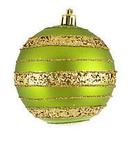 """Шар новогодний елочный пластиковый """"Золотое яблоко"""", зеленый d-8 см"""