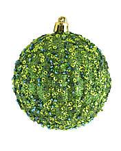 """Шар новогодний елочный пластиковый """"Лиственный"""" с пайетками, темно зеленый d-8 см"""
