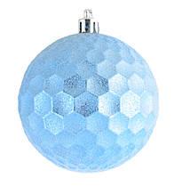 """Шар новогодний елочный пластиковый """"Призма"""", светло голубой d-8 см"""