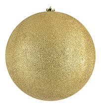 Шар новогодний елочный пластиковый d-25 см золотой глиттер