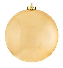 Шар новогодний елочный пластиковый d-25 см золотой глянец