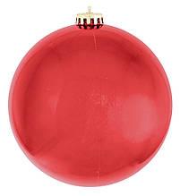 Шар новогодний елочный пластиковый d-25 см красный глянец