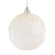"""Шар новогодний елочный пластиковый d-8 см """"Белый Феникс"""""""