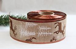 """Лента декор НГ """" Олени """"  коричневая    6,3 см   ,    рулон"""