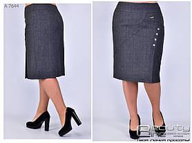 Женская юбка качественная эко кожа стёжка + креп дайвинг  батал Размеры 48.50.52.54.56.