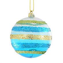 Шар новогодний елочный пластиковый разноцветный с украшением из глиттера d-8 см.