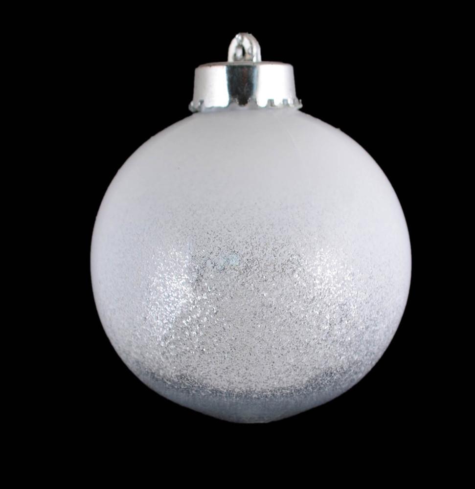 Шар новогодний елочный пластиковый с инеем белый d-8 см.
