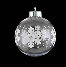 """Шар новогодний елочный пластиковый с принтом """"Снежинки"""" d-8 см"""
