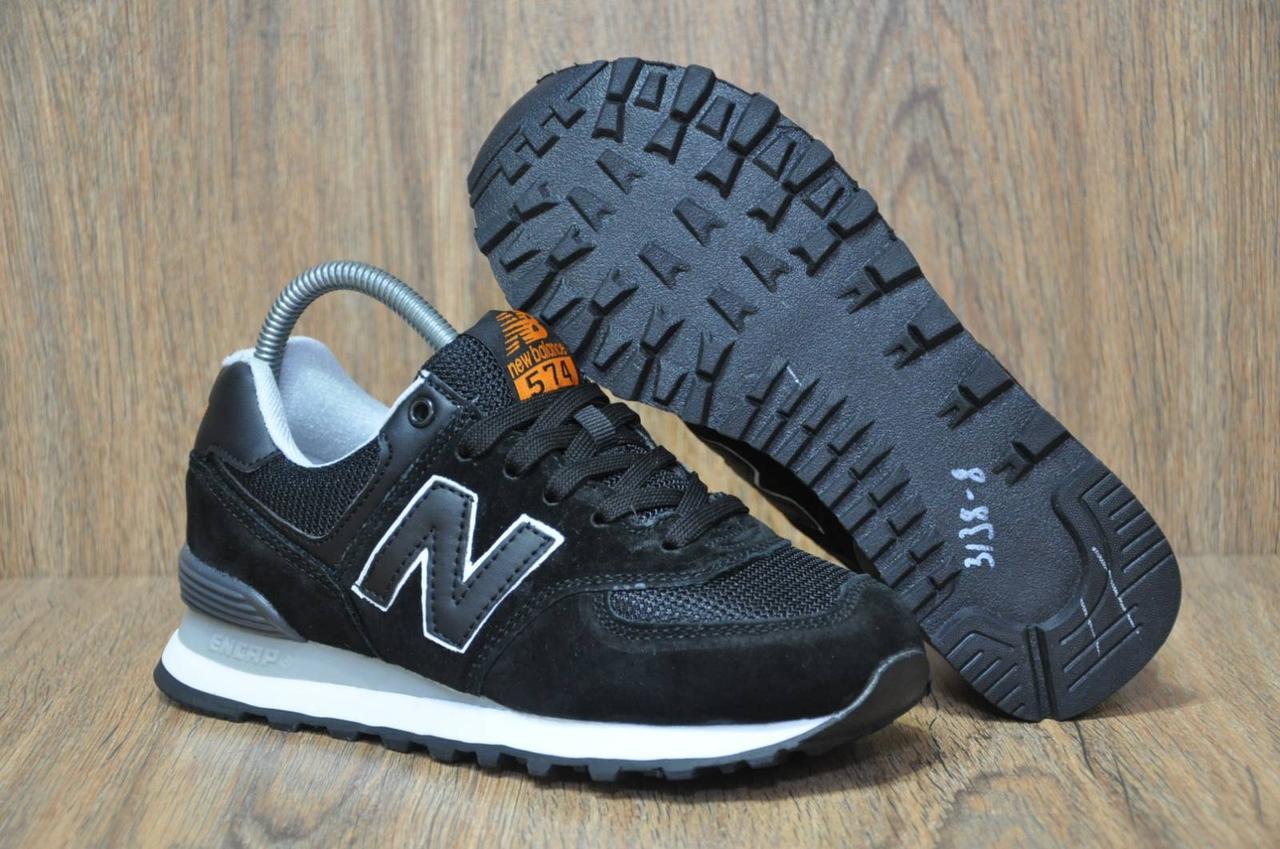 Кроссовки черные унисекс в стиле New Balance 574 натуральный замш и текстиль