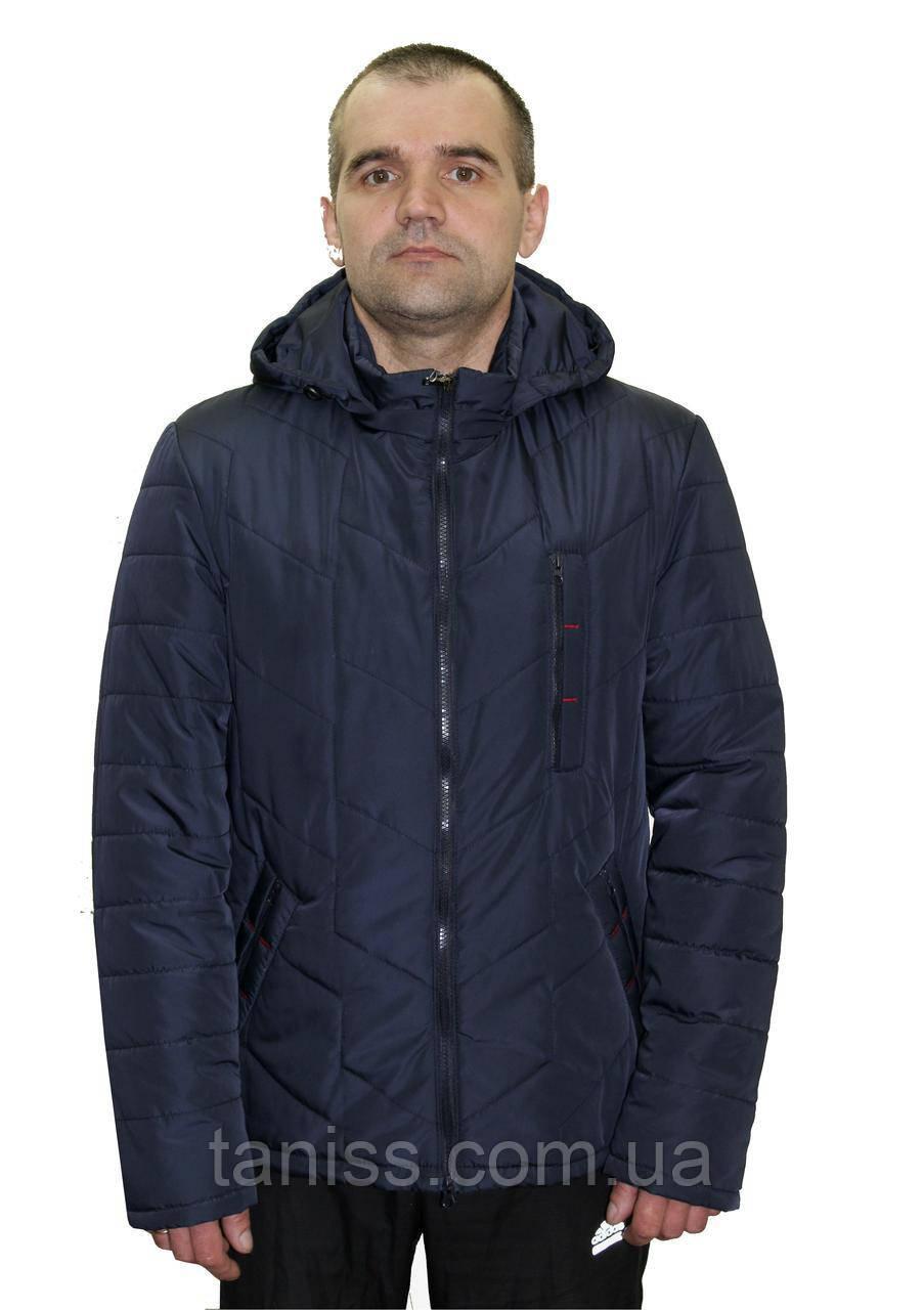 Стильная,демисезонная,мужская куртка,капюшон съемный, размеры 48-62,синий(01)чоловіча демісезонна куртка