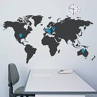 Наклейка виниловая интерьерная наклейка Карта мира (декоративная самоклеющаяся) матовая серая 1870х970 мм