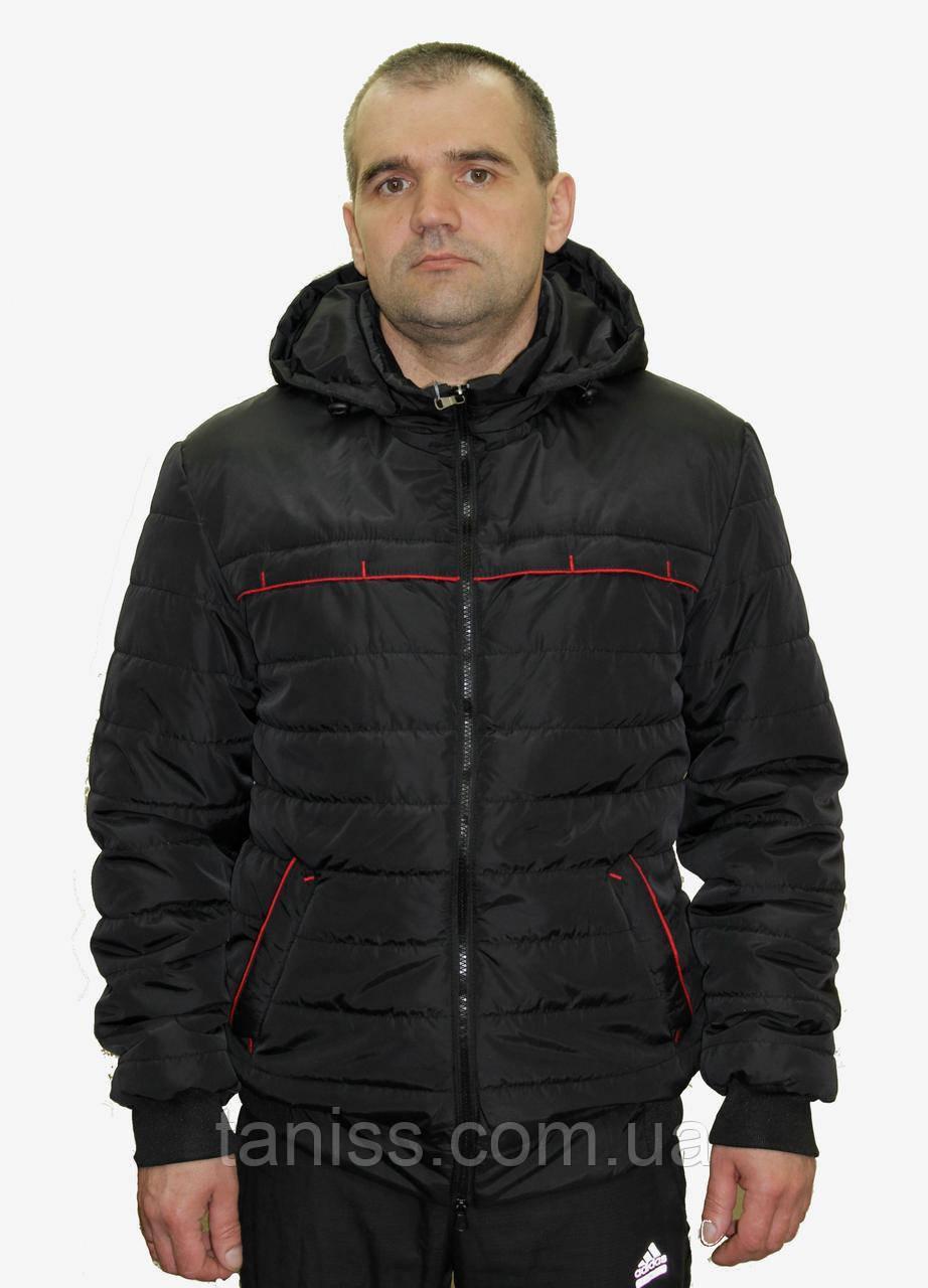 Стильная,демисезонная,мужская куртка,капюшон съемный, размеры 48-58,черный,(02)чоловіча демісезонна куртка