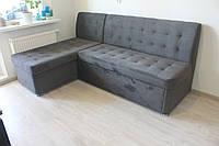 Раскладной угловой диван на кухню (Серый)