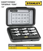 """Набір головок торцеві STANLEY 1/2"""" з насадками викрутковими """"Torx"""" Т20-Т60, 9 шт."""