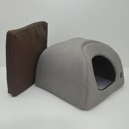 Домик юрта для котов и собак Loft №1 320х320х320 бежевый + коричневый, фото 2