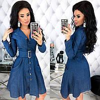 Женское платье на каждый день из стрейч джинса на пуговичках