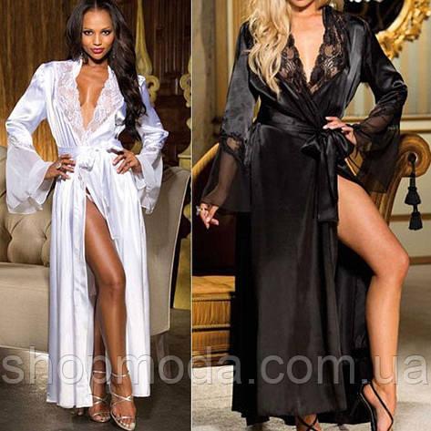 Длинный халат с кружевом. Прозрачное белье халат. Эротическое белье. Интимное белье., фото 2