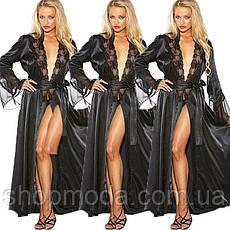 Длинный халат с кружевом. Прозрачное белье халат. Эротическое белье. Интимное белье., фото 3