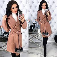 Женское кашемировое пальто с натуральным мехом на поясе