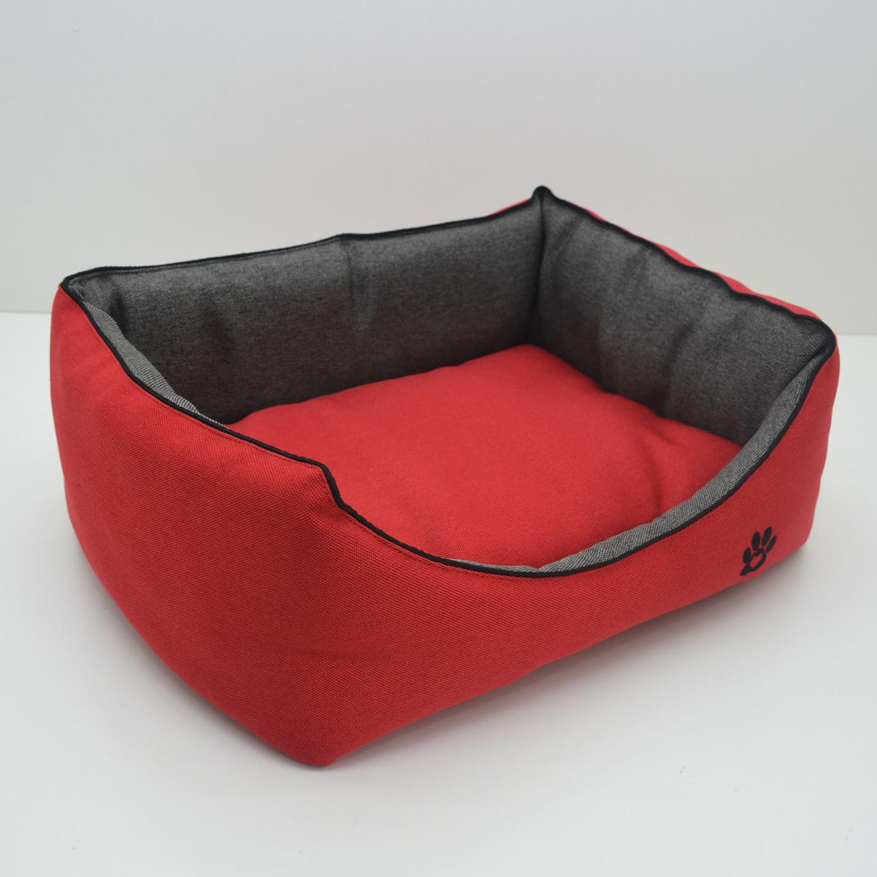 Лежак для собак і котів Loft №5 70х100х24 см червоний + сірий
