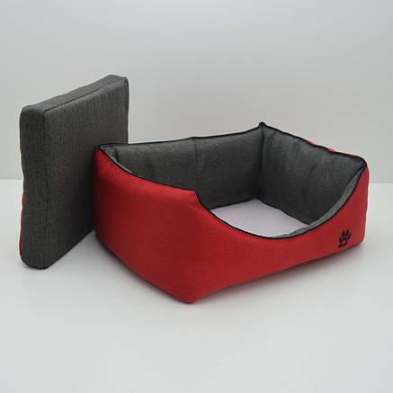 Лежак для собак і котів Loft №5 70х100х24 см червоний + сірий, фото 2