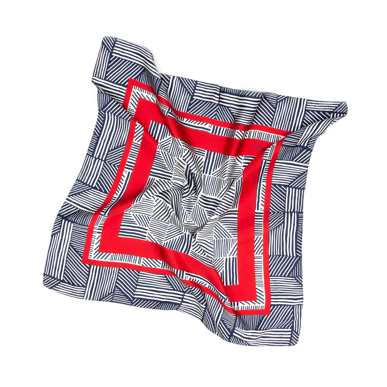 Платок шейный из шелка серо-красный (Ш-510-6)