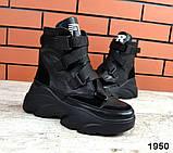 Женские зимние черные кожаные ботинки спортивного стиля (черный), фото 7