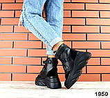 Женские зимние черные кожаные ботинки спортивного стиля (черный), фото 9