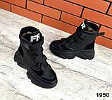 Женские зимние черные кожаные ботинки спортивного стиля (черный), фото 8