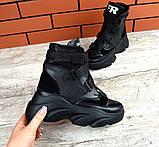 Женские зимние черные кожаные ботинки спортивного стиля (черный), фото 10
