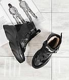 Женские зимние черные кожаные ботинки спортивного стиля (черный), фото 2