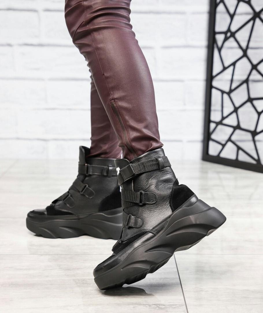 Женские зимние черные кожаные ботинки спортивного стиля (черный)