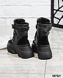 Женские зимние черные кожаные ботинки спортивного стиля (черный), фото 5
