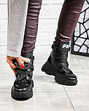 Женские зимние черные кожаные ботинки спортивного стиля (черный), фото 3