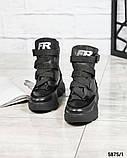 Женские зимние черные кожаные ботинки спортивного стиля (черный), фото 4